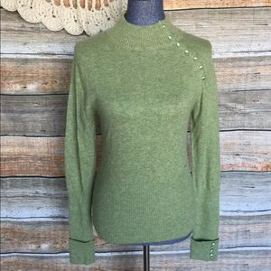 BCBGMAXAZRIA Angora Blend Green Turtleneck Sweater